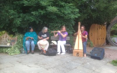 Musicians from CelticVedic Fabrice & Andrea at the One Tree Gathering, Whit Lenge Gardens August 2015