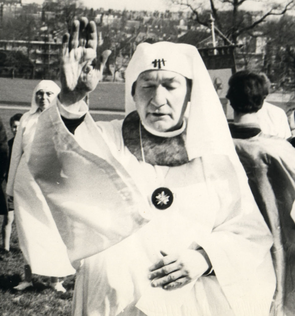 Ross Nichols gives Peace to the Quarters at the Spring Equinox ceremony of the Order in 1967, Parliament Hill, Highgate