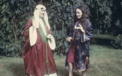 Ross and Olivia Robertson posing in fancy dress at Huntington (now Clonegal) castle Ireland
