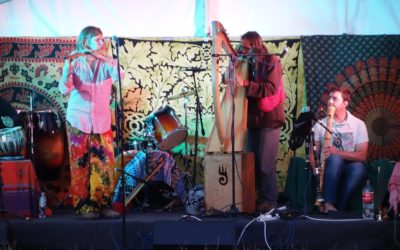 The CelticVedic band plays at the Druid White Horse Camp August 2015