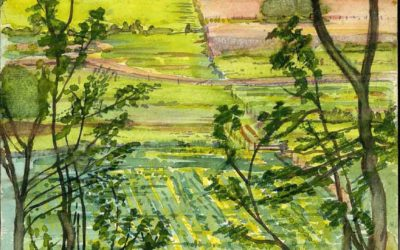'Looking into Landscape' Watercolour by Ross Nichols
