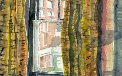 'Study in Curtains' Watercolour by Ross Nichols
