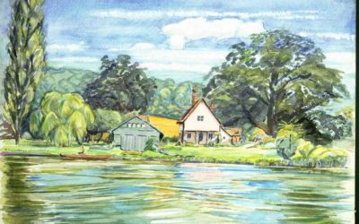'Sunbury on Thames' Watercolour by Ross Nichols