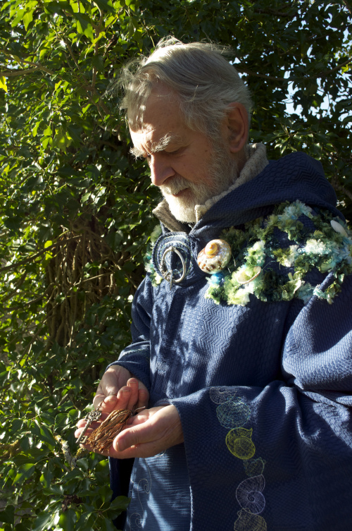 Garth holding the 'key of freedom' for White Horse Camps. Imbolc 2013