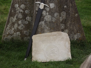 Stone carved with the Warrior's Call sigil for the ritual at Avebury. Photo: Trish Conniffe-lynch